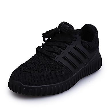 Sneakers-Tyl-Komfort-Dame-Sort Rød Hvid-Udendørs Fritid Sport-Flad hæl