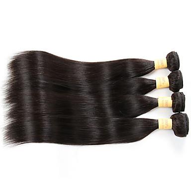 Menneskehår, Bølget malaysisk hår Lige 4 Dele hår vævninger