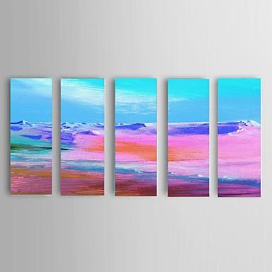Maalattu Abstrakti / Maisema / Abstraktit maisemakuvat öljymaalauksia,Moderni / European Style 5 paneeli Kanvas Hang-Painted öljymaalaus