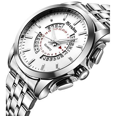 Homens Relógio de Pulso Relógio Elegante Relógio de Moda Quartzo Calendário Aço Inoxidável Banda Casual Legal Prata