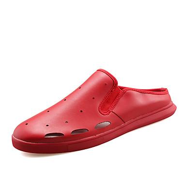 Heren Schoenen PU Lente Zomer Herfst Platte schoenen Voor Causaal Wit Zwart Rood