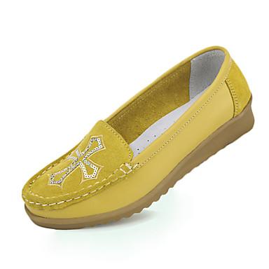 Dame Flate sko Komfort Lær Vår Sommer Avslappet Gange Komfort Flat hæl Gul Brun Blå Flat