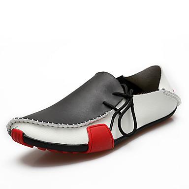 Masculino sapatos Couro Primavera Outono Conforto Sapatos de mergulho Mocassins e Slip-Ons Caminhada Para Casual Preto Cinzento Marron