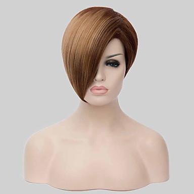 Naisten Synteettiset peruukit Suojuksettomat Lyhyt Suora Vaaleahiuksisuus musta Wig Rooliasu peruukki