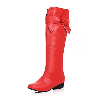 Naiset Kengät Tekonahka Talvi Kevät Syksy Bootsit Kävely Paksu korko Ruseteilla varten Kausaliteetti Valkoinen Musta Punainen