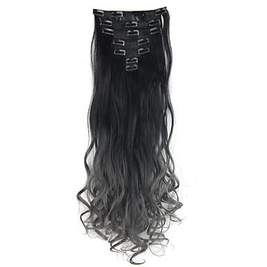 to tone ombre hår klippet i hair extensions 7pcs 130g krop bølget dip dye klip i hair extensions sort til mørk grå hår