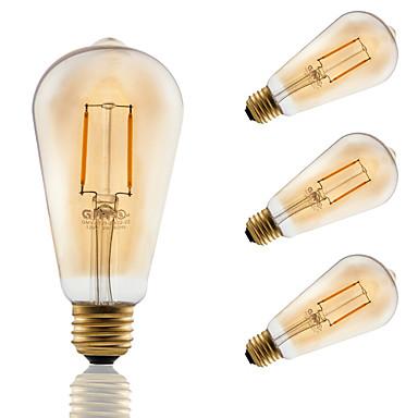 2 E26/E27 LED-glødepærer ST21 2 COB 180 lm Ravgult Dimbar / Dekorativ AC 110-130 V 4 stk.
