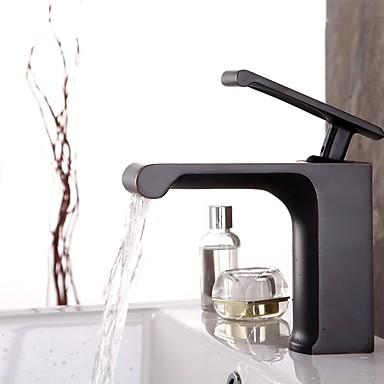 Moderne Art Deco/Retro Centersat Vandfald Udbredt Keramik Ventil Et Hul Enkelt håndtag Et Hul Olie-gnedet Bronze , Håndvasken vandhane