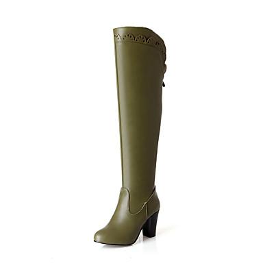 Støvler-Kunstlæder-Hæle / Modestøvler-Dame-Sort / Blå / Grøn / Hvid-Udendørs / Kontor / Hverdag-Tyk hæl