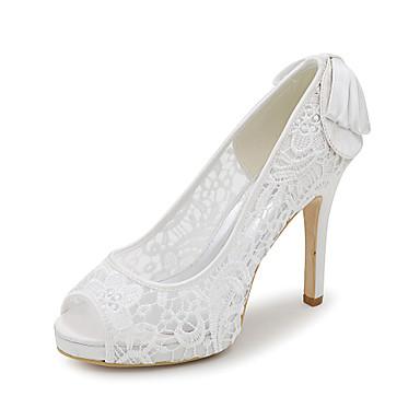 Feminino-Sandálias-Peep Toe-Salto Agulha-Preto / Rosa / Marfim / Branco-Sintético-Casamento / Festas & Noite / Social