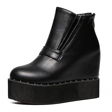 Støvler-Kunstlæder-Wedges / Ankelstøvler-Dame-Sort-Udendørs-Kilehæl