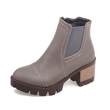 Støvler-Kunstlæder-Modestøvler-Dame-Sort / Grå / Burgunder-Formelt / Hverdag-Tyk hæl