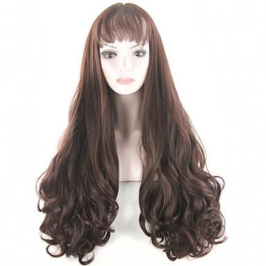 muoti naisten peruukit luonnollinen lämmönkestävä synteettinen peruukit otsatukka pitkä kihara blondi peruukki tumma pronssi