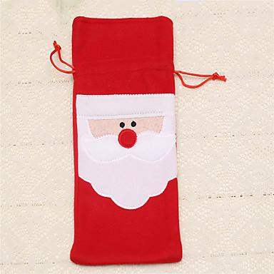 1pc vermelho garrafa de vinho tampa sacos jantar de Natal decoração de mesa de casa partido fornece papai noel