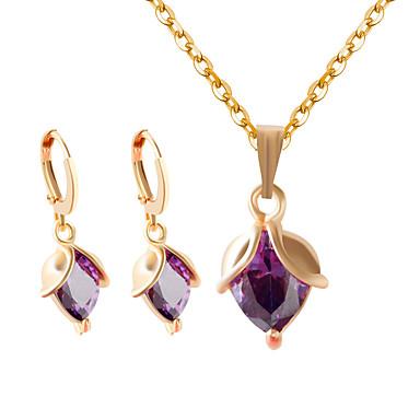 Damen Zirkon Schmuck-Set Ohrringe Halsketten - Weiß Purpur Halskette / Ohrringe Für Hochzeit Party Alltag Normal