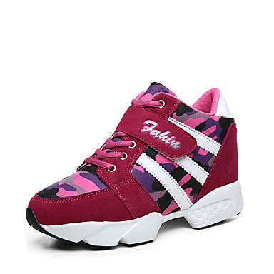 Sneakers-Læder-Komfort Ankelstøvler Modestøvler Rulleskøjtesko-Dame-Sort Rød-Udendørs Fritid Sport-Flad hæl