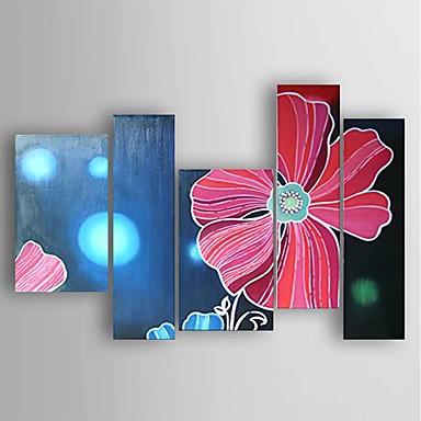 Hånd-malede Abstrakt Oliemalerier,Moderne Fem Paneler Canvas Hang-Painted Oliemaleri For Hjem Dekoration