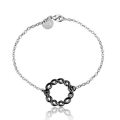 Dames Armbanden met ketting en sluiting Modieus Vintage Sterling zilver Cirkelvorm Zilver-Zwart Sieraden VoorBruiloft Feest Dagelijks