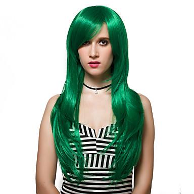 Synthetische Haare Perücken Capless Perücken Lang Grün