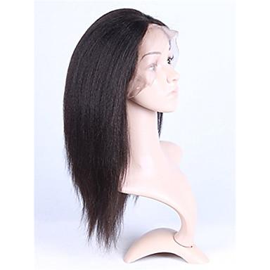 Ekte hår Blonde Forside Parykk Rett Kinky Glatt 130% tetthet 100 % håndknyttet Afroamerikansk parykk Naturlig hårlinje Kort Medium Lang