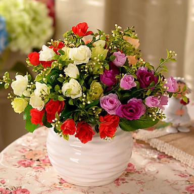 1pc 1 Afdeling Polyester / Plastik Roser Bordblomst Kunstige blomster 11.8inch/30CM