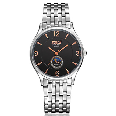 Masculino Relógio de Moda Quartzo Impermeável Aço Inoxidável Banda Casual Prata Branco Preto Azul
