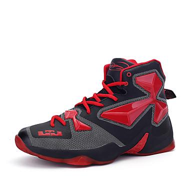 Hombre Cuero Primavera / Otoño Confort Zapatillas de Atletismo Baloncesto Antideslizante Rojo / Negro / Rojo / Dorado
