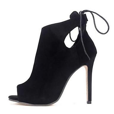 Støvler-Ruskind-Komfort Ankelstøvler-Dame-Sort-Udendørs-Stilethæl