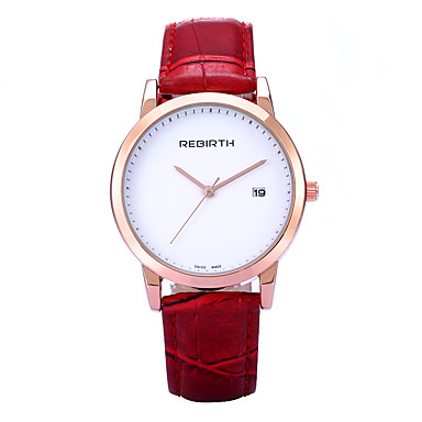 REBIRTH Damen Armbanduhr Kalender PU Band Freizeit / Modisch / Minimalistisch Schwarz / Rot / Braun