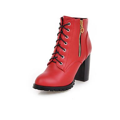 女性-ドレスシューズ-レザーレット-チャンキーヒール-ファッションブーツ-ブーツ-ブラック イエロー レッド