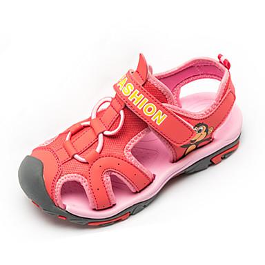 Drenge Pige Sandaler Komfort Tyl Sommer Afslappet Komfort Magisk tape Flad hæl Gul Lys pink Marineblå Flad