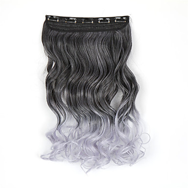 hot klip i hair extensions 5clips lang bølget krøllede ombre hårnåle syntetisk hår klip i syntetisk sort-grå