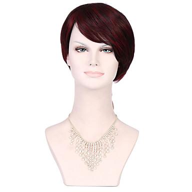 Mulher Perucas sintéticas Sem Touca Curto Liso Vermelho Cabelo Ombre preto peruca Perucas para Fantasia