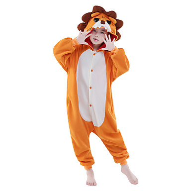 Niños Pijamas Kigurumi León Pijamas de una pieza Lana Polar Naranja Cosplay por Niños y niñas Ropa de Noche de los Animales Dibujos animados Festival / Celebración Disfraces
