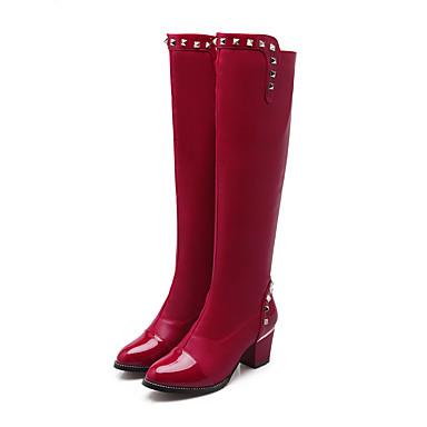 Sort / Blå / Rød-Tyk hæl-Kvinders Sko-Hæle / Modestøvler-Kunstlæder-Udendørs / Kontor / Hverdag-Støvler