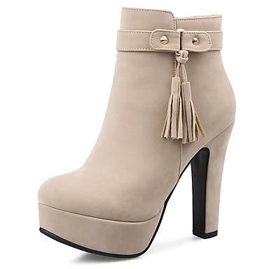 Damen Schuhe Kunstleder Winter Herbst Stiefeletten Stiefel Blockabsatz Plattform Quaste für Normal Büro & Karriere Party & Festivität