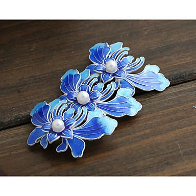 DIY smykker blå blomst stil kobber charm vedhæng