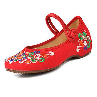 Dame Sko Kanvas Forår Sommer Efterår broderede sko Mary Jane Komfort Fladsko Gang Flade hæle Spænde Blomst for Afslappet Sort Rød Grøn Blå