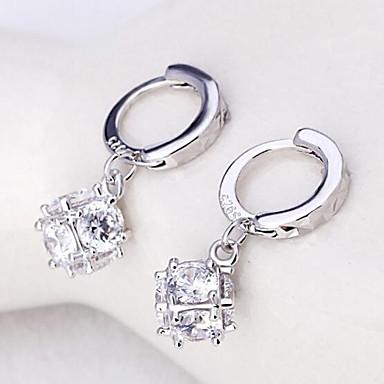 Damen Sterling Silber Zirkon - Personalisiert Niedlich Party Büro Freizeit Modisch bezaubernd Silber Quadratisch Ohrringe Für Hochzeit