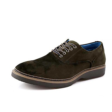 Herre Flate sko Komfort Fleece Vår Høst Avslappet Gange Komfort Snøring Flat hæl Svart Brun Grønn Flat