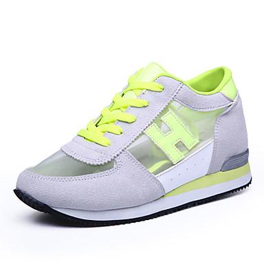 Dames Sneakers Lente Herfst Comfortabel Tule Casual Sleehak Veters Groen Donker Rood