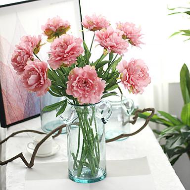 1 1 Afdeling Polyester / Plastik Pæoner Bordblomst Kunstige blomster 28.34inch/72cm