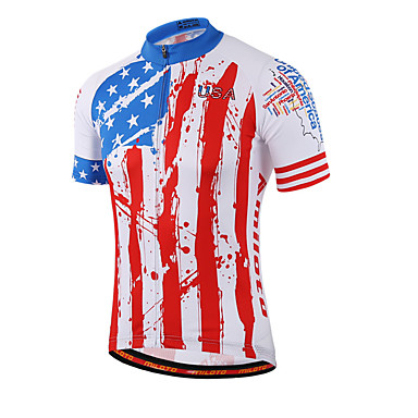 Miloto Men's Women's Short Sleeve Cycling Jersey Red and White Stripes Plus Size Bike Shirt Sweatshirt Jersey Breathable Quick Dry Reflective Strips Sports Coolmax® 100% Polyester Mountain Bike MTB