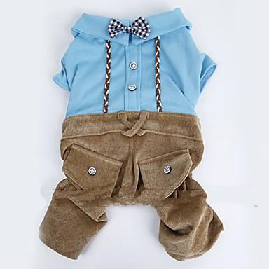 Hund Overall Hundekleidung Britisch Blau / Rosa Terylen / Baumwolle Kostüm Für Haustiere Herrn / Damen Urlaub / Modisch
