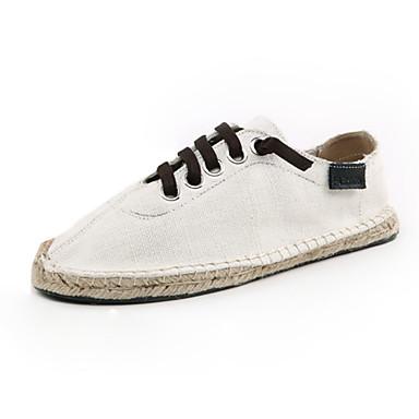Herre Flate sko Lerret Vår Avslappet Snøring Flat hæl Svart Gul Blå Flat