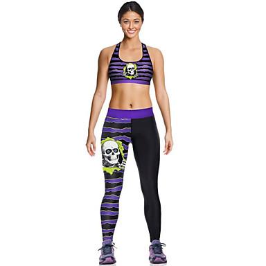Damen Ringer-Rücken-Kleid Sport-BH mit Laufhose Sport Streifen Strumpfhosen / Lange Radhose / Leggins / Oberteile Yoga Sportkleidung