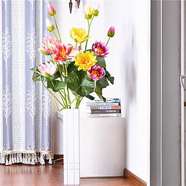 1 1 Afdeling Polyester / Plastik Lotus Gulvblomst Kunstige blomster 53.93inch/137cm