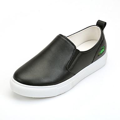 Dame-PU-Flat hælFlate sko-Friluft Fritid-Svart Hvit