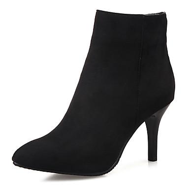 Damen Schuhe Kunstleder Herbst / Winter Modische Stiefel / Stiefeletten Stiefel Stöckelabsatz Reißverschluss Grau / Rot / Blau