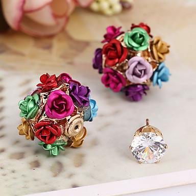 Stangøreringe Zirkonium Kvadratisk Zirconium Legering Mode minimalistisk stil Blomstformet Regnbue Guld/Pink Smykker Daglig Afslappet1